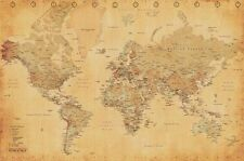 "Antique Style Map of the World poster with Clocks on top 24 x 36""  - Best Seller"