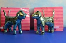 """TWO VICTORIA""""S SECRET PINK  7 """" DOGS METALLIC GREEN & BLUE WITH BLACK POLKA DOTS"""