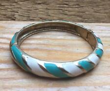 Vintage Style Enamel Stripy Panel Bangle/Green/White/Bracelet/Hinged/Retro Look