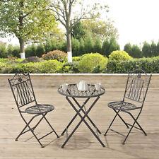 [en.casa] Bistro Set Tisch 2 Stühle Essgruppe Sitzgruppe Gartenmöbel Metall