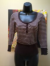 Women's H&M Gold & Black Striped Sweater Sz 4 - 3/4 sleeve with buttons Adorable