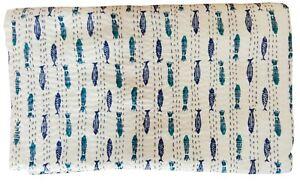 New Fish Print Indian Cotton Handmade Bedspread Blanket Bedding Kantha Quilt Art