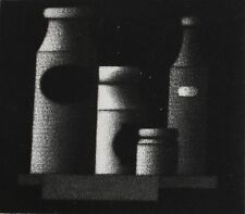 Mario Avati (French 1921-2009) Modernist Mezzotint greeting card Bottles signed