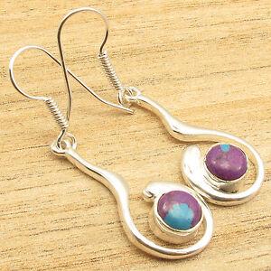 "925 Silver Overlay PURPLE COPPER TURQUOISE Gem Inspirational Art Earrings 1.9"""