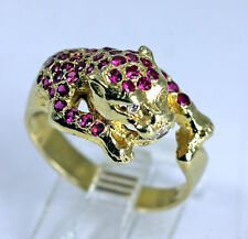 Fabulous Estate 14K Gold Panther Ring with Rubies and Diamonds