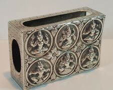 ANTIQUE SOLID SILVER MATCHBOX HOLDER COVER - INDIAN DEITIES