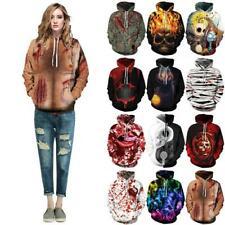 Women Men Halloween Skull 3D Print Hoodie Sweatshirt Hoody Pullover Cosplay Tops