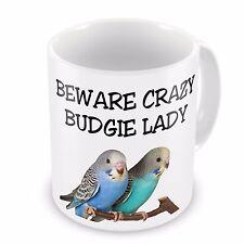 Beware Crazy Budgie Lady Novelty Gift Mug