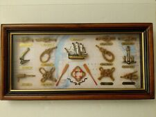 Old time Nautical Art, framed Gibraltar bay map w/ knots and the ship endeavour
