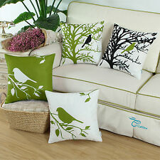 Set of 4 CaliTime Pillow Shells Cushion Cover Shadow Bird Printed Home Sofa 45cm Olive Green - 4pcs/set