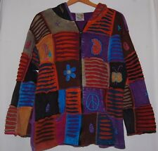 Boho Hippie India Boutiqe Hoodie Sweater Jacket Embroidered Patchwork Purple M L