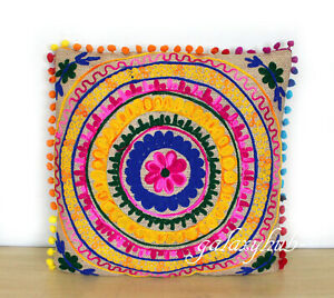 """New 16"""" Pillow Cover 24"""" Square Jute Embroidery Cushion Cover 18"""" Pillowcase D1"""