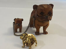 Vintage Collectible Lot Hand Carved wood Bull Dog & Pup Mack Truck Bull Dog Pin