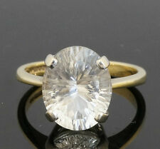 9Carat Yellow & White Gold Clear Quartz Solitaire Ring (Size N) 9x12mm Head