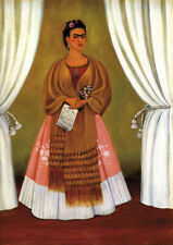 Self-Portrait Between the curtains - Kahlo - A4 21x29.7cm Canvas Print Unframed