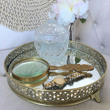 Gold Pressed Metal Tray with Mirror/Round/Trinket Tray/Bedroom/Bathroom