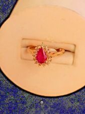 LADIES YELLOW GOLD 14K RUBY AND DIAMOND RING