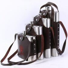 Stainless Steel Hip Flask Liquor Whisky Portable Pocket Alcohol Bottle Belt Case