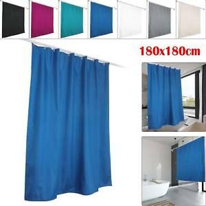 1.8M*1.8M 7 Colours Waterline Bathroom Plain Shower Curtain 12 Matching Rings