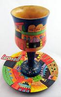 JERUSALEM SHABBAT KIDDUSH CUP WITH PLATE - Judaica Jewish - Hand Made in Israel
