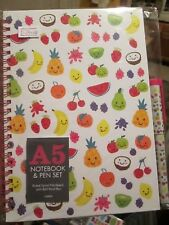 Fruit Patterned Hardback Spiral A5 Lined Notebook & Pen Set