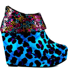 IRON FIST Platform BoX WeDge LEOPARD Rainbow Sequin Top RoCk Star Shoe BOOT 5 36