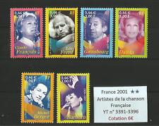 FRANCE 2001 n° 3391-3396 MNH ** .. The Artists of the French Song