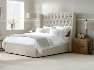 Curved Wingback Chesterfield Bed Frame Handmade Bespoke In Cream Plush