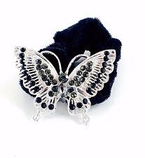 USA Butterfly Ponytail holder Elastic Rhinestone Crystal Hair Tie Rope Black 19