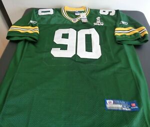B.J. RAJI Green Bay PACKERS Football REEBOK Sewn SUPER BOWL Size 54 Jersey NEW