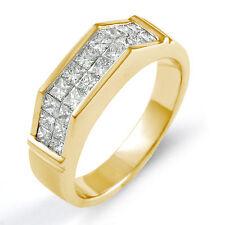 1.40 Ct Princess Diamond Men's Wedding Ring 14k Gold Yellow F VS1 Band 6.60mm