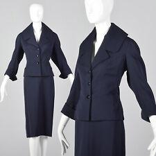 M 1950s Jean Dessès Mfc Sunningdale Shop Navy Blue Gabardine Skirt Suit 50s Vtg