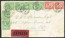 1916 EXPRESS Cover Bromley-London KGV 1/2d Green Strip of 4 and 2 1d Red Pair