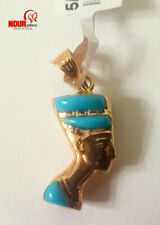 "New Egyptian Queen Nefertiti 18K Yellow Gold Pendant double sided 1.18"", 1.88 g"