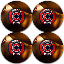 Chicago Cubs Baseball Rubber Round Coaster set (4 pack) / RNDRBRCSTR2004