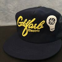 RARE Vintage Blue General Electric GE Trucker Hat. Snapback Cap. Made in USA