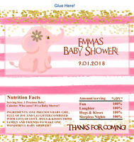 12 Baby Shower Hershey Candy Bar Wrapper Pink Baby Elephant Birthday
