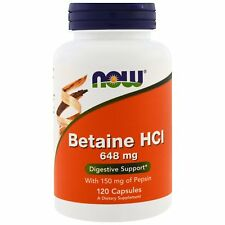 NOW FOODS BETAINE HCL - 648mg x 120 CAPS - DIGESTIVE ENZYME - WITH 150mg PEPSIN
