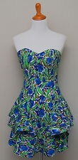 Vintage 1980s Womens Xs Dress-Rage Blue/Green Floral Strapless Cotton Dress
