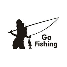 Go Fishing Sticker Decals Cool funny car styling decoration Black WBCA