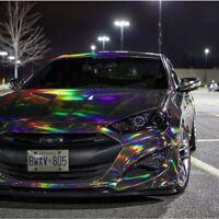 Holographic Silver Rainbow Neo Chrome Car Vinyl Wrap Air Bubble Free Sticker