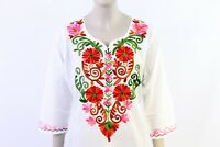 Mexican White Tops/Blouses Colorful Hand Stitched