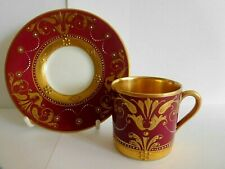 ANTIQUE ART NOUVEAU GERMAN FRAUREUTH DEMI TASSE CUP AND SAUCER WITH JEWELLING