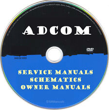 Adcom Hifi Service & Owner Manuals & Schematics- PDFs on DVD - Huge Collection