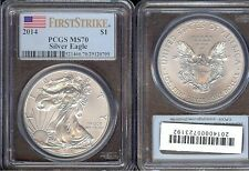 1-2014  AMERICAN EAGLE, 1OZT EACH 999 PURE SILVER ****PCGS MS70 FIRST STRIKE****