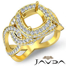 Diamond Engagement Designer Ring Pave 18k Yellow Gold Cushion Semi Mount 1.8Ct