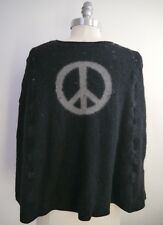 LUCIEN PELLAT-FINET black gray peace sign cashmere wool poncho one size