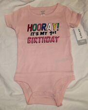 8e768c866 New Carters Baby Girl First Birthday 1st Pink Short Sleeve Hooray