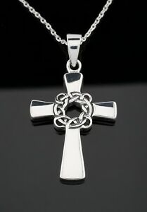 Solid 925 Sterling Silver Celtic Cross Pendant Necklace Crucifix