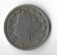 Rare Very Old Antique 1912 US Liberty V Nickel Collection Coin USA Cent Money K8